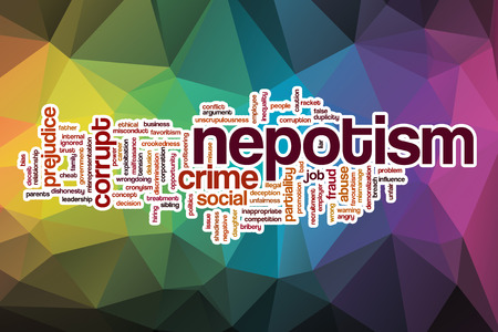 nepotism: Nepotism word cloud concept with abstract background