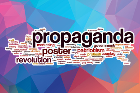 propaganda: Propaganda word cloud concept with abstract background Stock Photo