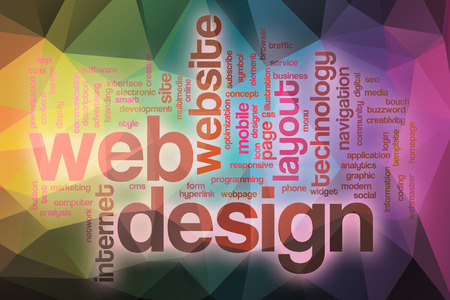 Web design word cloud concept with abstract background photo
