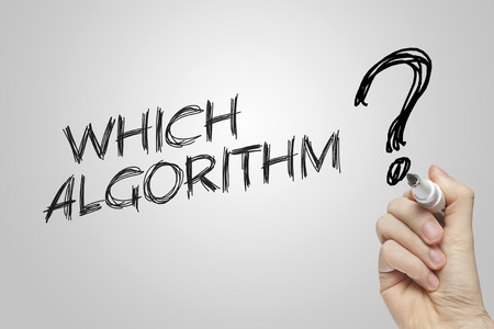 algorithm: Hand writing which algorithm on grey background Stock Photo