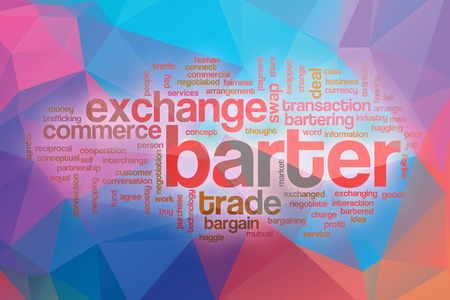 barter: Barter word cloud concept with abstract background Stock Photo