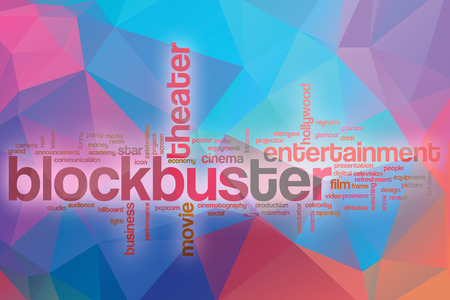 blockbuster: Blockbuster word cloud concept with abstract background Stock Photo