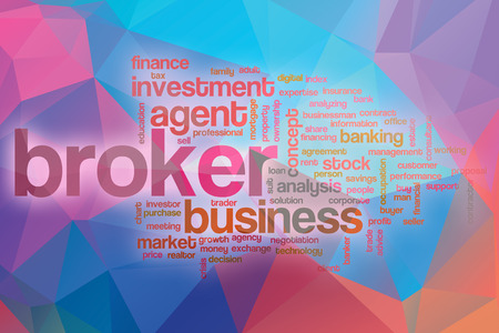 broker: Broker word cloud concept with abstract background