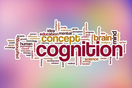 cognicion: Cognición concepto de nube de palabras con el fondo abstracto