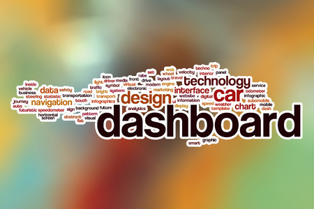 dashboard: Dashboard word cloud concept with abstract background Stock Photo
