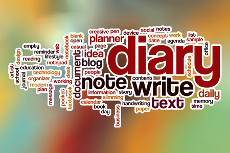 stroked: Diary word cloud concept with abstract background Stock Photo