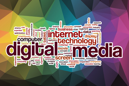 Digital media word cloud concept with abstract background photo