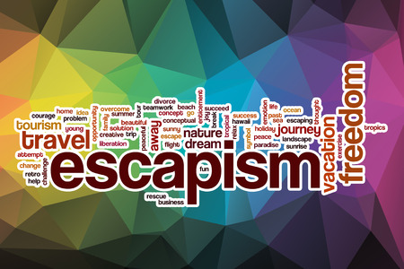 escapism: Escapism word cloud concept with abstract background
