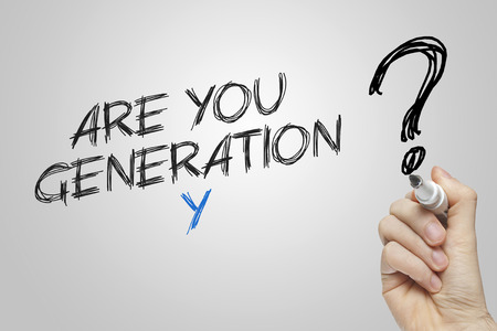 generation y: Hand writing are you generation y on grey background