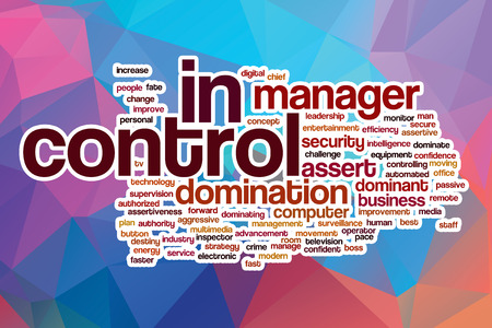 assert: In control word cloud concept with abstract background Stock Photo