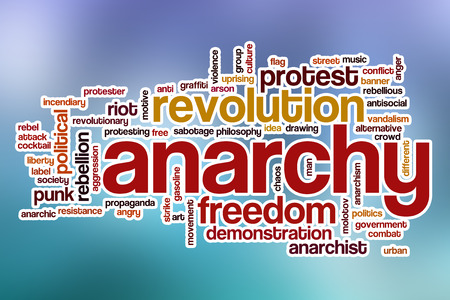 anarchism: Anarchy word cloud concept with abstract background