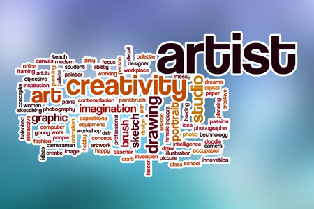 stroked: Artist word cloud concept with abstract background