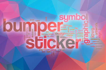 bumper: Bumper sticker word cloud concept with abstract background