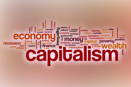 capitalism: Capitalism word cloud concept with abstract background Stock Photo
