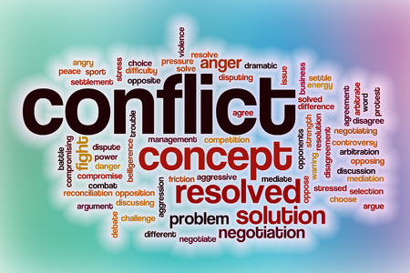 Conflict word cloud concept with abstract background Banque d'images