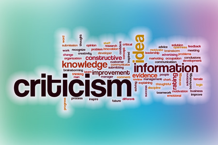 criticism: Criticism word cloud concept with abstract background