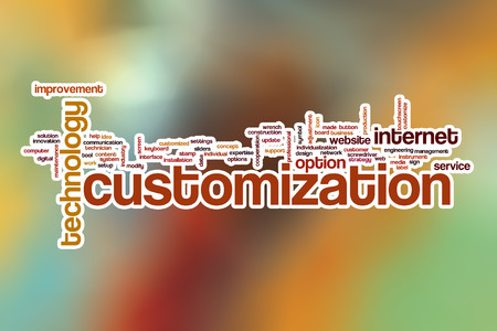customization: Customization word cloud concept with abstract background