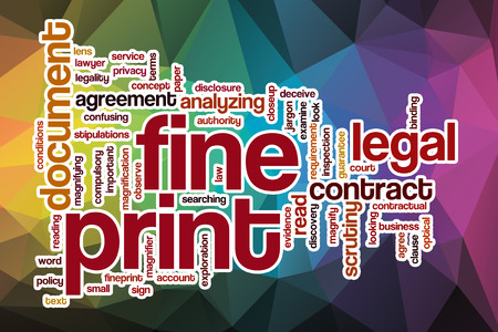 fine print: Fine print word cloud concept with abstract background