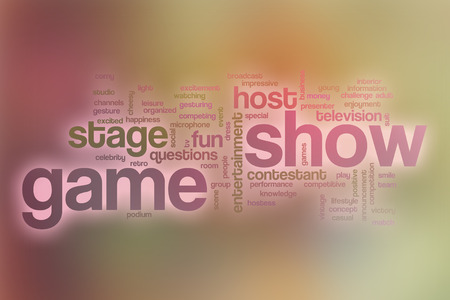 game show: Game show word cloud concept with abstract background