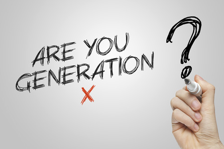 generation x: Hand writing are you generation x on grey background