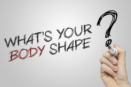 body writing: Hand writing whats your body shape on grey background