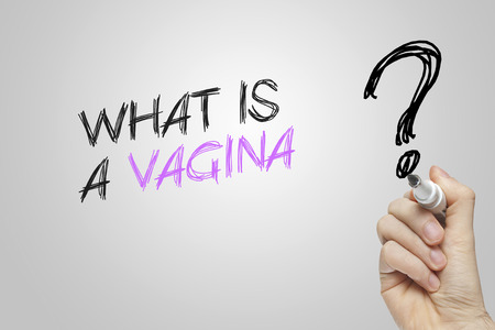 vagina: Hand writing what is a vagina on grey background