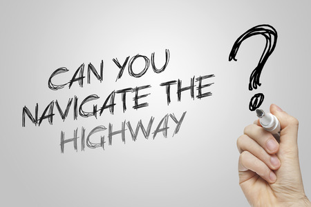 navigate: Hand writing can you navigate the highway on grey background
