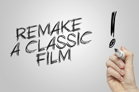 remake: Hand writing remake a classic film on grey background