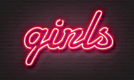stripper: Hot girls neon sign on brick wall background