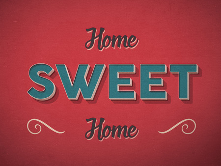 Home sweet home sign in retro vintage style photo