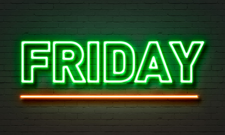 neon background: Friday neon sign on brick wall background