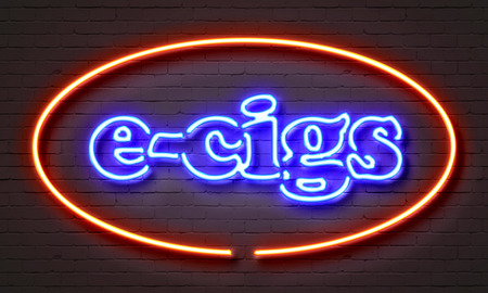vapour: E-cigs neon sign on brick wall background