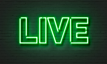 Live music neon sign on brick wall background Imagens - 40458613