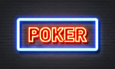 night suit: Poker neon sign on brick wall background