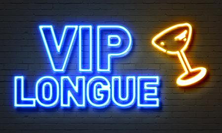 longue: VIP longue neon sign on brick wall background