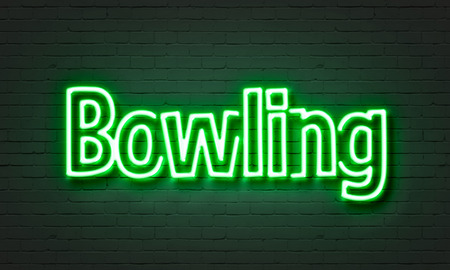 Bowling neon sign on brick wall background 版權商用圖片