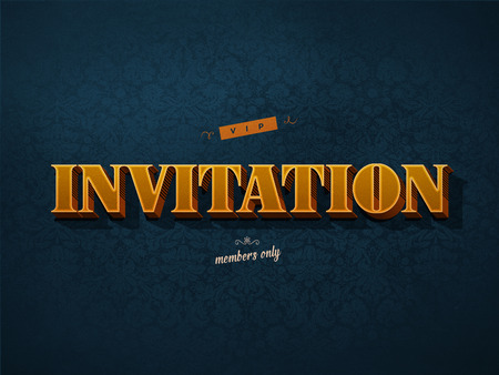VIP invitation in retro vintage style with golden and dark blue colors photo