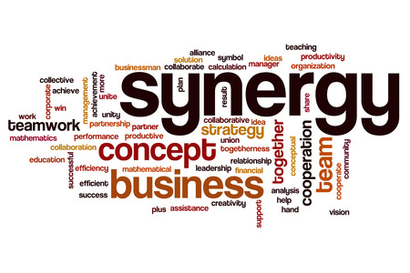 Synergy word cloud Stock Photo