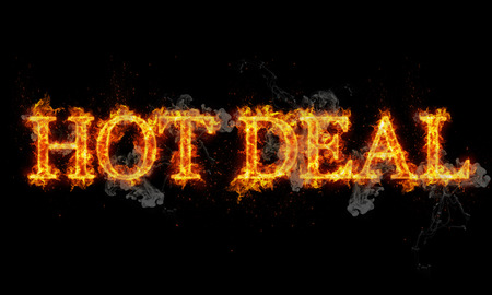 sizzling: Hot deal burning word written text in flames on black background