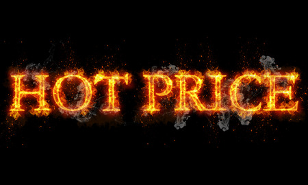 Hot price burning word written text in flames on black background photo