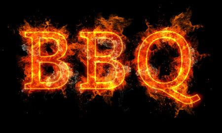 barbecue: Palabra barbacoa texto escrito en llamas sobre fondo negro
