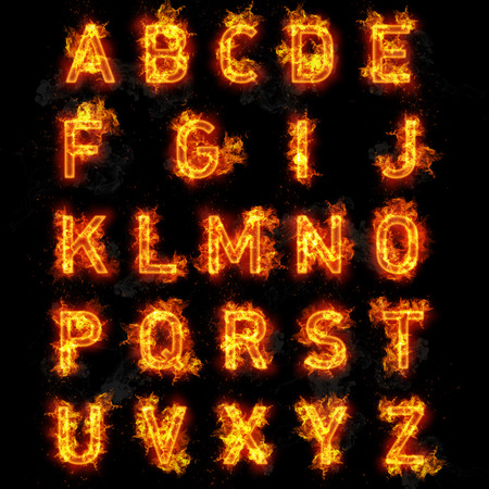 fiery: Fire font burning flaming text all letters of alphabet on black background