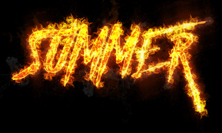 written text: Summer burning word written text in flames on black background