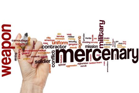 mercenary: Mercenary word cloud concept Stock Photo