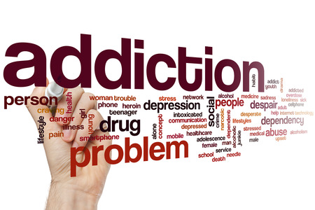 abuse young woman: Addiction word cloud concept