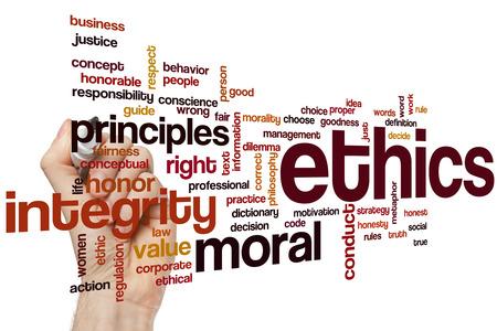 valores morales: �tica concepto de nube de palabras Foto de archivo