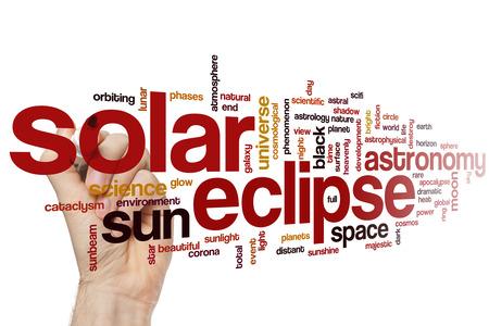 eclipse: Solar eclipse word cloud concept Stock Photo