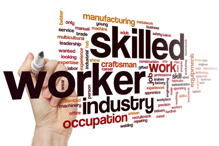 hábil: Skilled worker word cloud concept