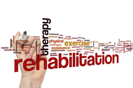 Rehabilitation word cloud concept Foto de archivo