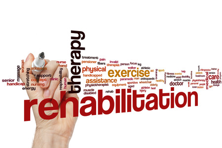 Rehabilitation word cloud concept Stok Fotoğraf